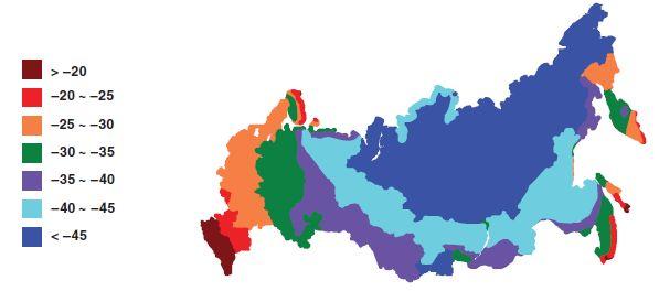 Примерная карта распределения температур наиболее холодной пятидневки на территории РФ.