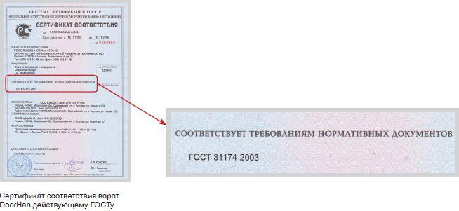 Сертификат соответствия ворот DoorHan действующему ГОСТу