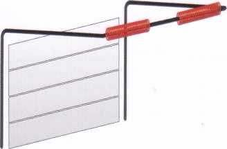 Ворота, в которых уравновешивание полотна осуществляется торсионным механизмом с задним расположением вала (используется при низкой притолоке)